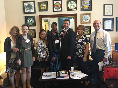 Pictured left to right: Nancy Ashmore, mother to GCE Employee of the Year; Allison Ashmore, GCE Employee of the Year; Mercy Miller, (Operations Executive MacDill); Ronesha Monroe, Supv - MacDill; Jeff Read, GCE Chief Operating Officer; Lori Kain, GCE Director of Governmental/Community Relations; Congressman Jimmy Panetta (CA-20).